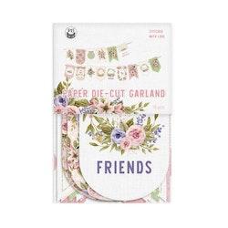 Piatek13 - Paper die cut garland Stitched with love