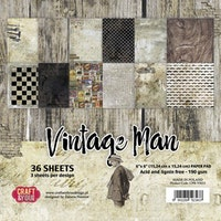 Craft&You Vintage Man Small Paper Pad 6x6 36 sheets