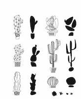 "Tim Holtz Cling Stamp ""Mod Cactus"""