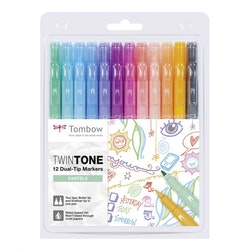 Tombow Twintone dual-tip markers  - 12pcs pastels