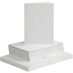 Vita Kort och kuvert 10,5 x 15cm - 50 pack