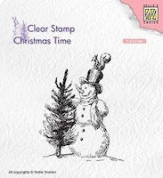 NS Clearstamp - Snowman with tree