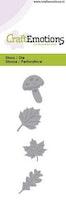 CraftEmotions Die - leaves, mushrooms Card 5x10cm