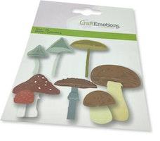 CraftEmotions Die - mushroom mix Card 11x9cm