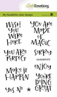 CraftEmotions clearstamps A6 - handletter - Wish you ...