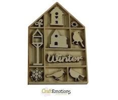 CraftEmotions Wooden ornament - bird, birdhouse 50 pcs