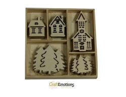 CraftEmotions Wooden ornament box - houses, church 25 pcs