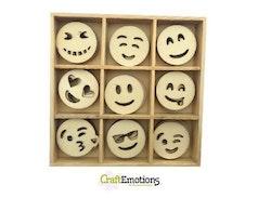 CraftEmotions Wooden ornament box - emoticons 45 pcs