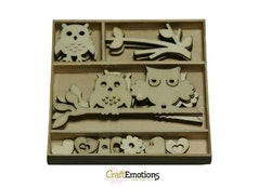 CraftEmotions Wooden ornament box owls 30 pcs