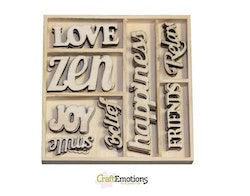 CraftEmotions Wooden ornament box Happiness - text ...