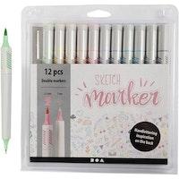 Sketch Marker spets 1+2-5 mm 12st - Höstfärger