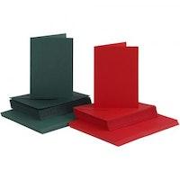 Röda och gröna kort & kuvert 10,5x15 cm - 50 pack