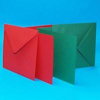 Röda och gröna kort & kuvert 5 x 5