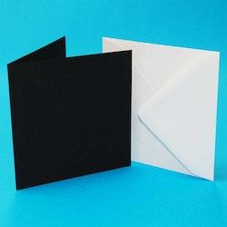 Svarta och vita kort & kuvert 5 x 5