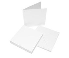 Vita kort & kuvert 6 x 6