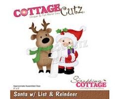 Cottage Cutz - Santa with List & Reindeer