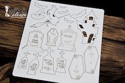 Chipboard  - Tombstones Set