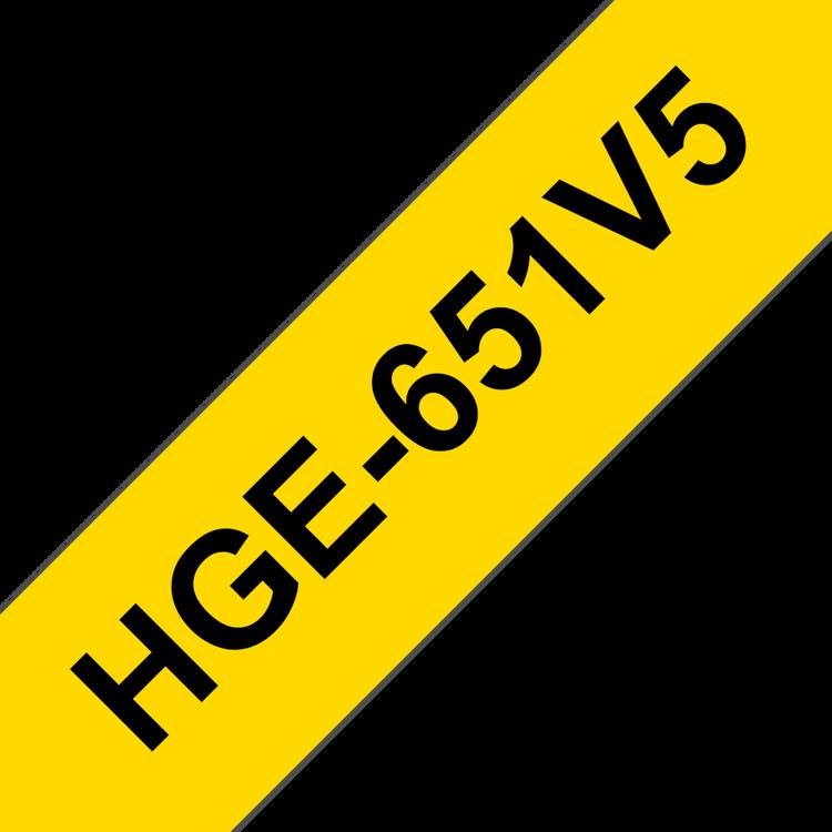 Brother HGe651V5 original laminerad High Grade-tape, svart på gul, 24 mm, 5-pack