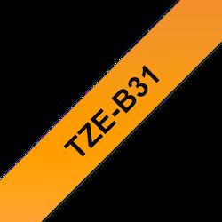Brother TZe-B31 original etikettape - svart på fluorescerande orange laminerad, 12 mm