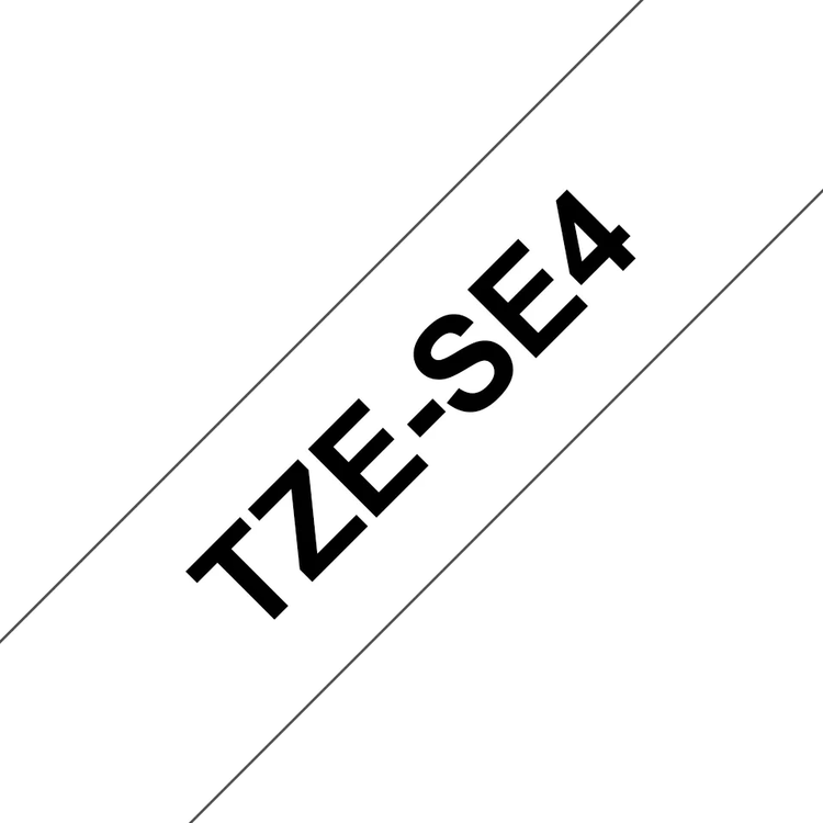 Brother TZe-SE4 original etikettape- svart på vit, 18 mm