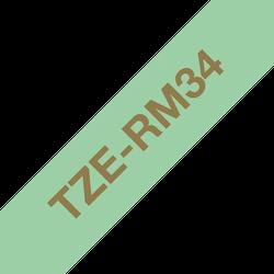 Brother TZe-RM34 satinbandskassett – guld på mintgrönt, 12 mm