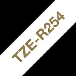 Brother TZe-R254 satinbandskassett – guld på vitt, 24 mm