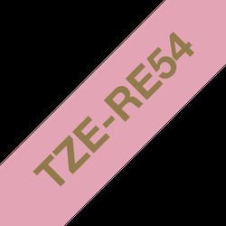 Brother TZe-RE54 satinbandskassett – guld på rosa, 24 mm