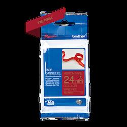 Brother TZe-RW54 satinbandskassett – guld på vinrött, 24 mm