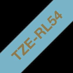 Brother TZe-RL54 satinbandskassett – guld på ljusblått, 24 mm