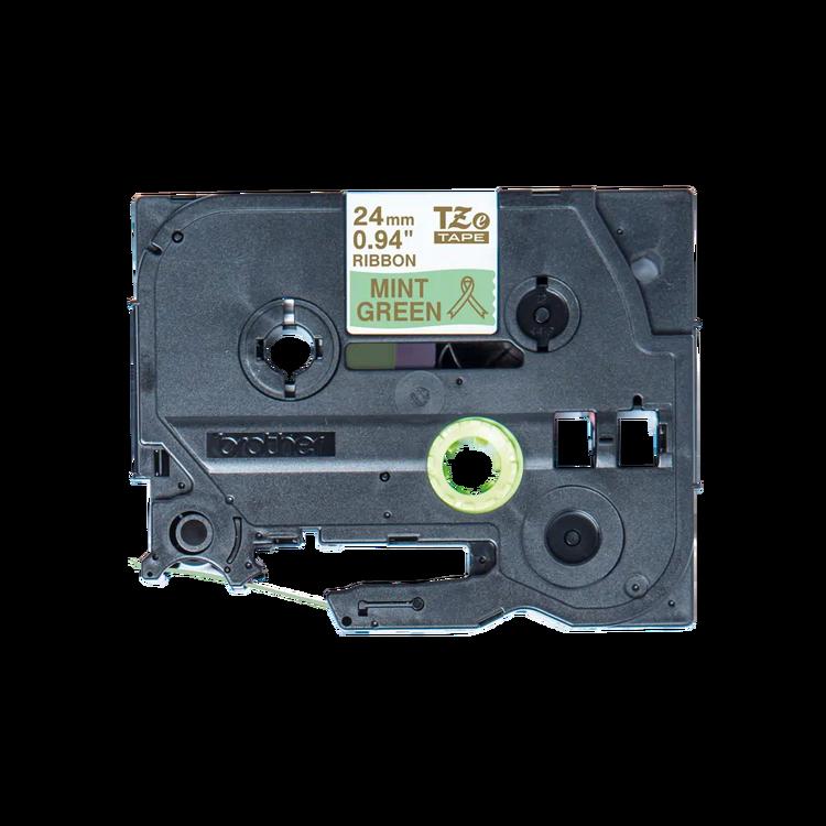 Brother TZe-RM54 satinbandskassett – guld på mintgrönt, 24 mm