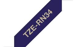 Brother TZe-RN34 original satinband – guldtext på blå botten, 12 mm