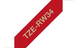 Brother TZeRW34 original satinband, guld på vinröd, 12 mm