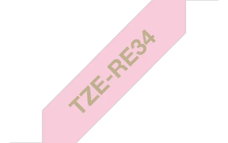 Brother TZeRE34 original satinband, guld på rosa, 12 mm