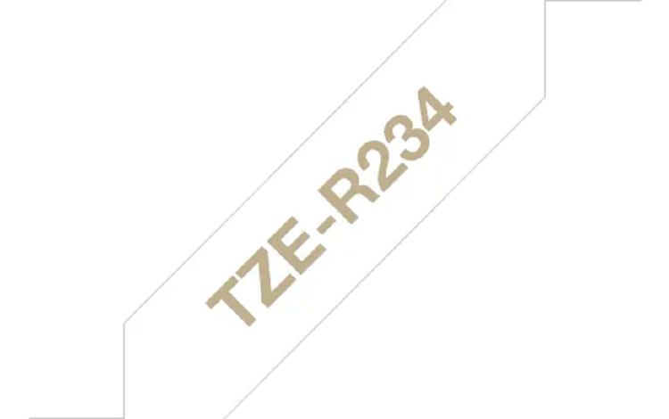 Brother TZeR234 original satinband – guld på vit, 12 mm
