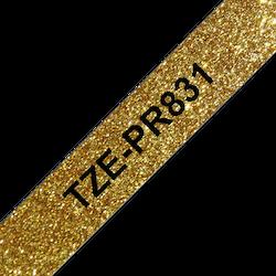 Brother TZe-PR831 original etikettape, svart på glittrande guld, 12 mm