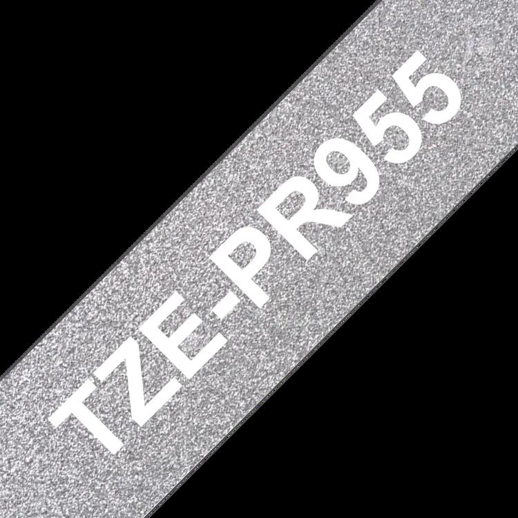 Brother TZe-PR955 original etikettape, Vit på glittrande silver, 24 mm