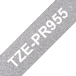 Brother TZe-PR955 original etikettape, Vit på glittrande silver, 24 mm