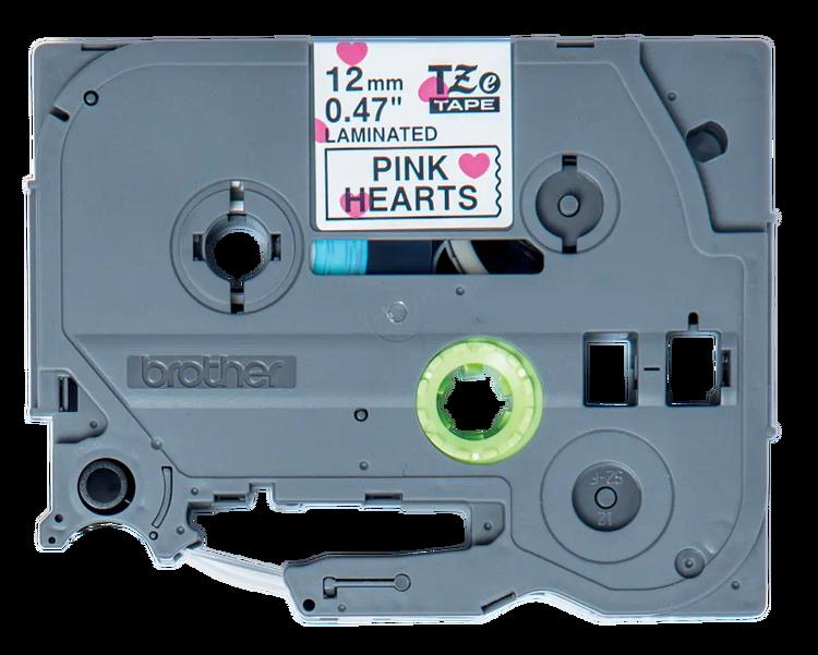 Brother TZe-MPPH31 original laminerad tape, svart text på mönster av röda hjärtan, 12 mm