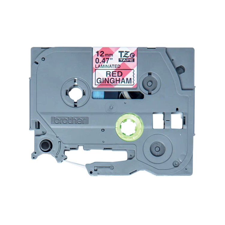 Brother TZe-MPRG31 laminerad tape, med svart text på rött rutmönster, 12 mm