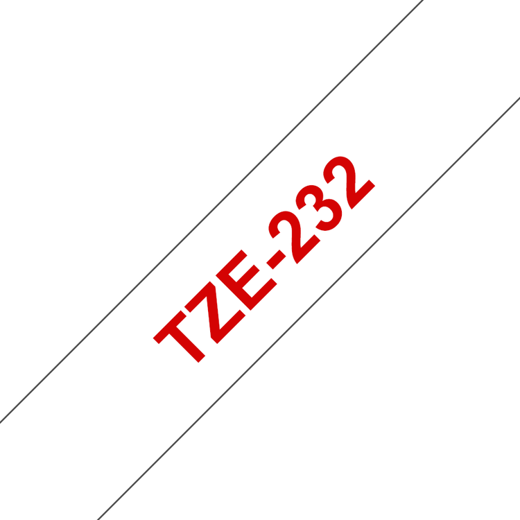 Brother TZe232 original etikettape, röd på vit, 12 mm