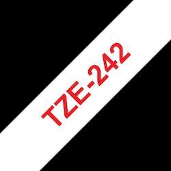 Brother TZe242 orginal etikettape, röd på vit, 18 mm