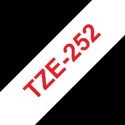 Brother TZe252 original etikettape, röd på vit, 24 mm