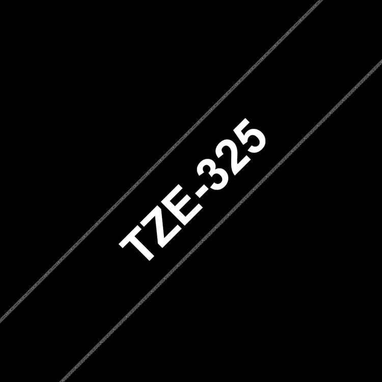 Brother TZe325 original etikettape, vit på svart, 9 mm