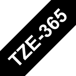 Brother TZe365 original etikettape, vit på svart, 36 mm