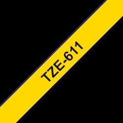 Brother TZe611 original etikettape, svart på gul, 6 mm