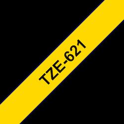 Brother TZe621 original etikettape, svart på gul, 9 mm