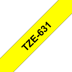 Brother TZe631 original etikettape, svart på gul, 12 mm