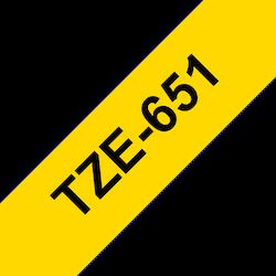 Brother TZe651 original etikettape, svart på gul, 24 mm