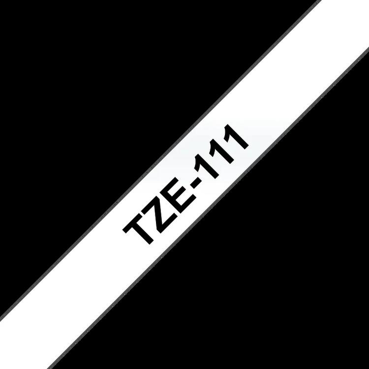 Brother TZe111 original etikettape, svart på genomskinlig, 6 mm