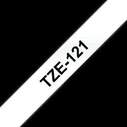 Brother TZe121 original etikettape, svart på genomskinlig, 9 mm